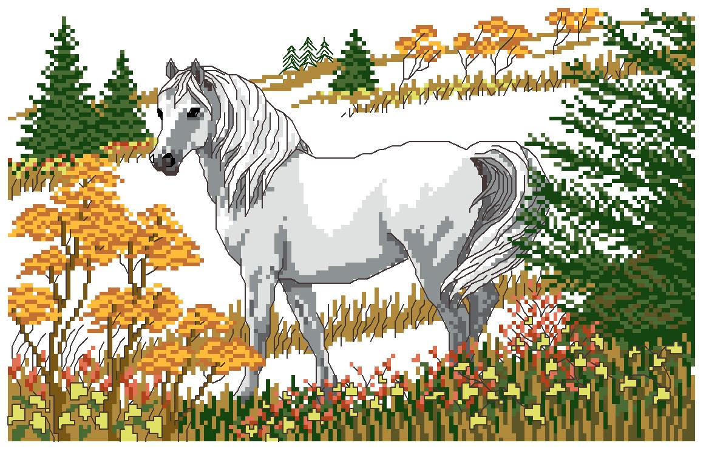 Схема вышивки крестом лошади